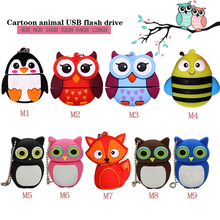 USB stick flash drive 64GB pendrive128gb cartoon owl pen 32gb memory mini computer  gift cute fox usb disk c