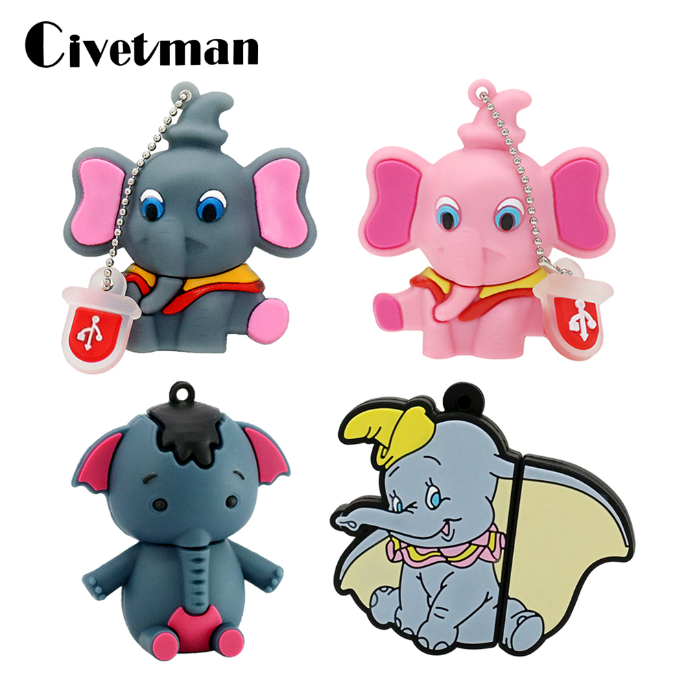 New Pen Drive USB 2.0 Flash Drive Gray Elephant Pendrive 64GB USB Flash Drive Memory Stick Disk 8GB 16GB 32GB External Storage
