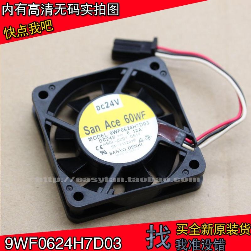SANYO 9WF0624H7D03 24V FANUC 6cm 6015 CNC Machine Fan 0.12A  60×60×15mm Cooling Fan Cooler