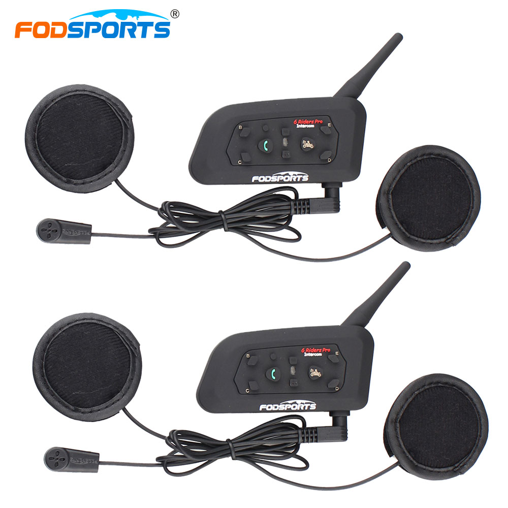 Fodsports 2PCS V6 Pro Helmet Bluetooth Headsets Motorcycle Intercom For 6 Riders BT Wireless Intercomunicador Interphone