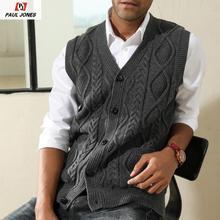 PAUL JONES Men's Casual Cardigan Vest Sweater Vest Stylish V-Neck Button Placket Knitwear V-Neck Knitted Waistcoat PJE02012