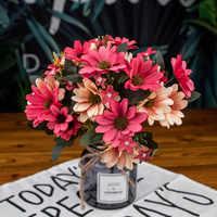 25 cabezas flores artificiales crisantemo flor rama flores falsas para la decoración del jardín del hogar fiesta decoración de la boda ramo flores HY