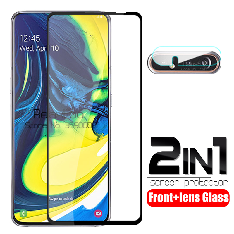 2 In 1 Camera Lens Tempered Glass For Samsung Galaxy A80 2019 A 80 80a A805F/DS A805F 6.7'' Screen Protector Protective Glasses
