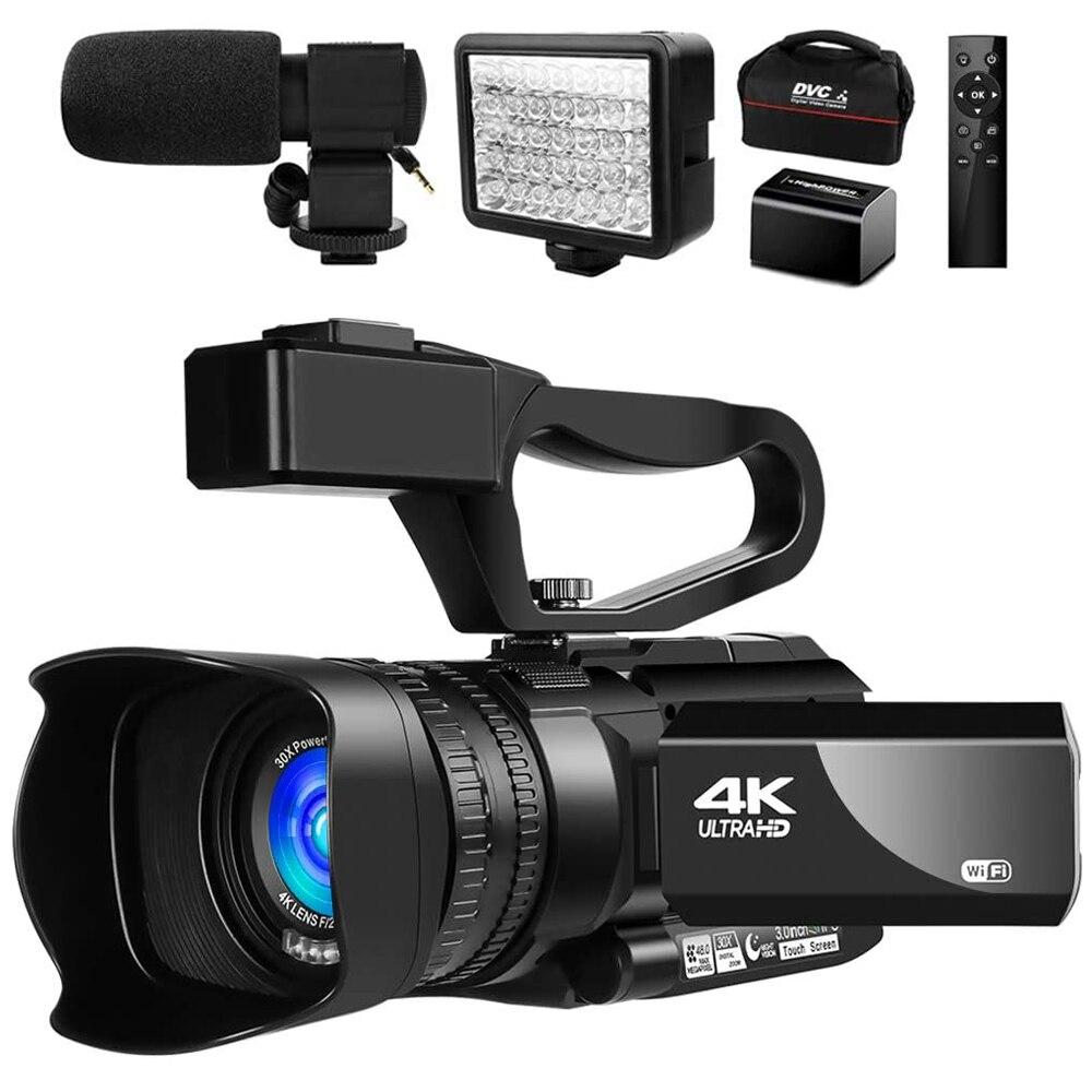 4K видео Камера видеокамера 48MP для YouTube прямые трансляции 30X цифровой зум ИК Ночное сенсорный Экран Камера Регистраторы с микрофоном