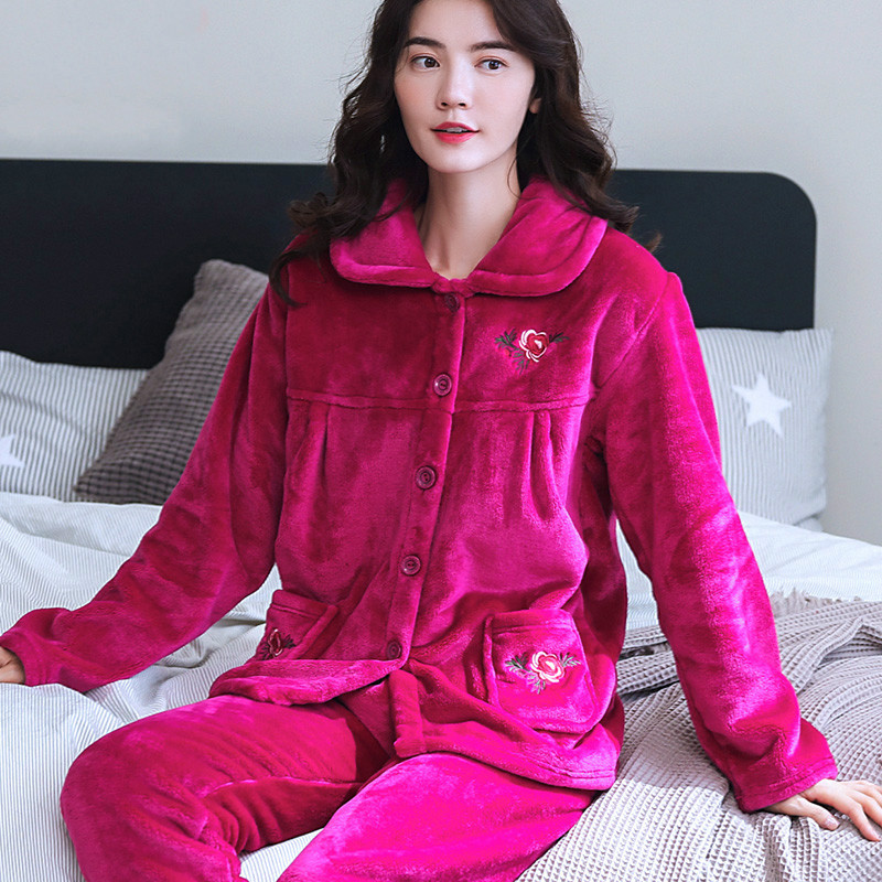 H5842 Comfortable Women Pajamas Suit Middle-aged and Elderly Female Thick Flannel Long Sleeve Sleepwear Autumn Winter Nightgown