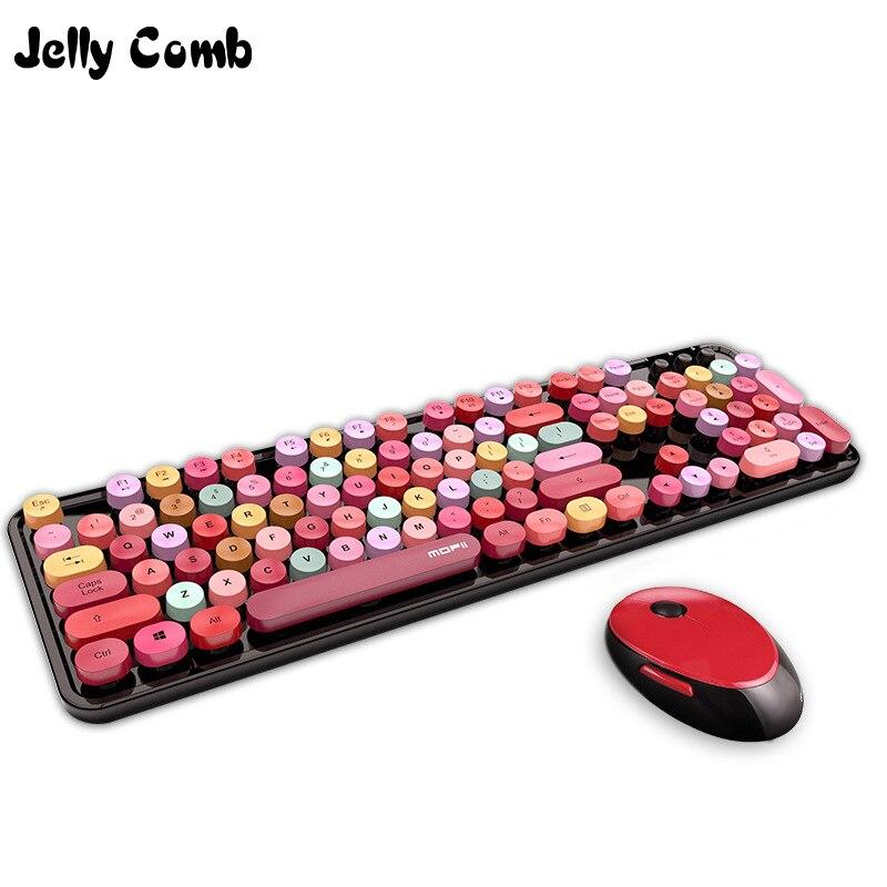 Желе расческа 2,4G Беспроводная клавиатура мышь набор для компьютера ноутбука Nootebook Gril клавиатура механическое ощущение 104 клавиши клавиатура расческа|Комплекты  мышь плюс клавиатура|   | АлиЭкспресс