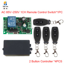 цена на 433MHz Universal Wireless Remote Control Switch AC 110V 220V 1CH Relay Receiver Module 2 Button Remote Control RF Remote Control