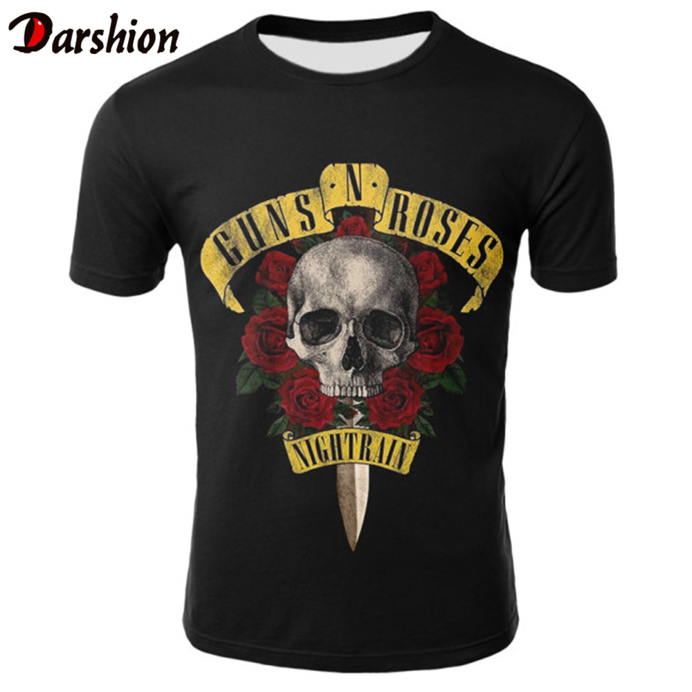 2019 New Men's T-shirts GUNS N ROSE NIGHTRIAN Printed T Shirt Men Tshirt Summer Black T-shirt Punk Skull Rose Design Plus Size