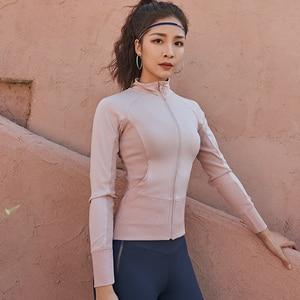 Image 2 - Women Running Jackets Long Sleeve For Gym Fitness Jogging Sweatshirt Ladies Yoga Sports Zipper Jacket Coat Shirts Womens Clothi