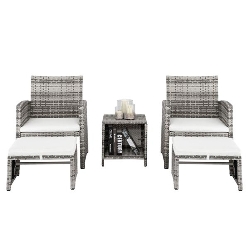 5pcs 2 Chairs 2 Footstools 1 Coffee Table Combination Sofa Gray Gradient Garden Chairs Set