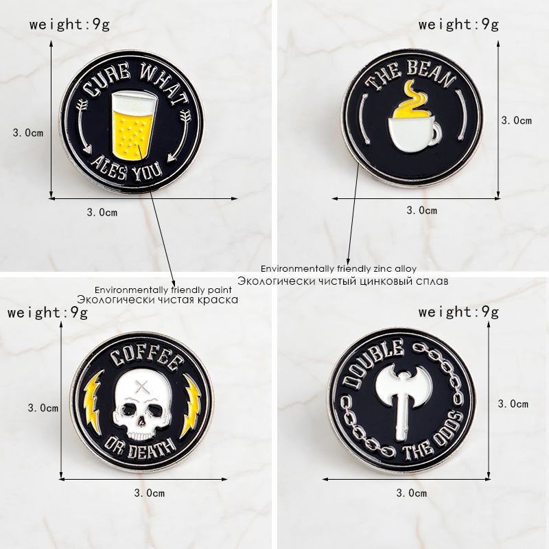 The bean coffee or death black coffee skull badges Pins Brooches Lapel pin Skeleton pins Punk jewelry Men Women in Brooches from Jewelry Accessories