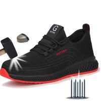 Manlegu Air Mesh acier orteil chaussures de travail respirant chaussures de travail homme sécurité léger anti-crevaison bottes de sécurité livraison directe