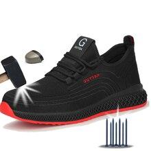 Manlegu Air Mesh Steel Toe Work Shoes Breathable Working Shoes