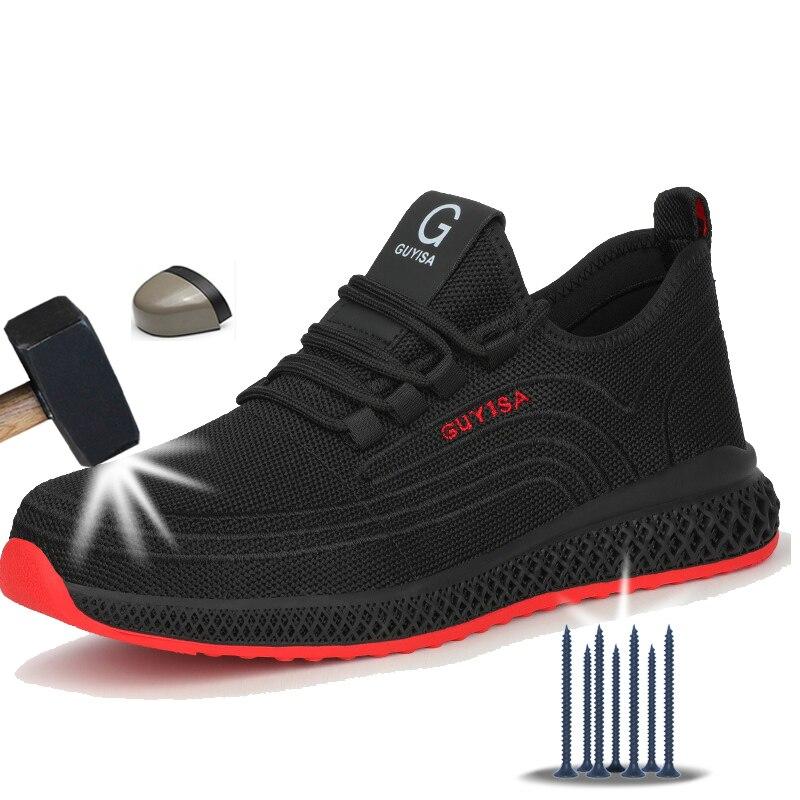 Manlegu ar malha de aço toe sapatos de trabalho respirável sapatos de trabalho homem segurança leve punctura-prova botas de segurança dropshipping