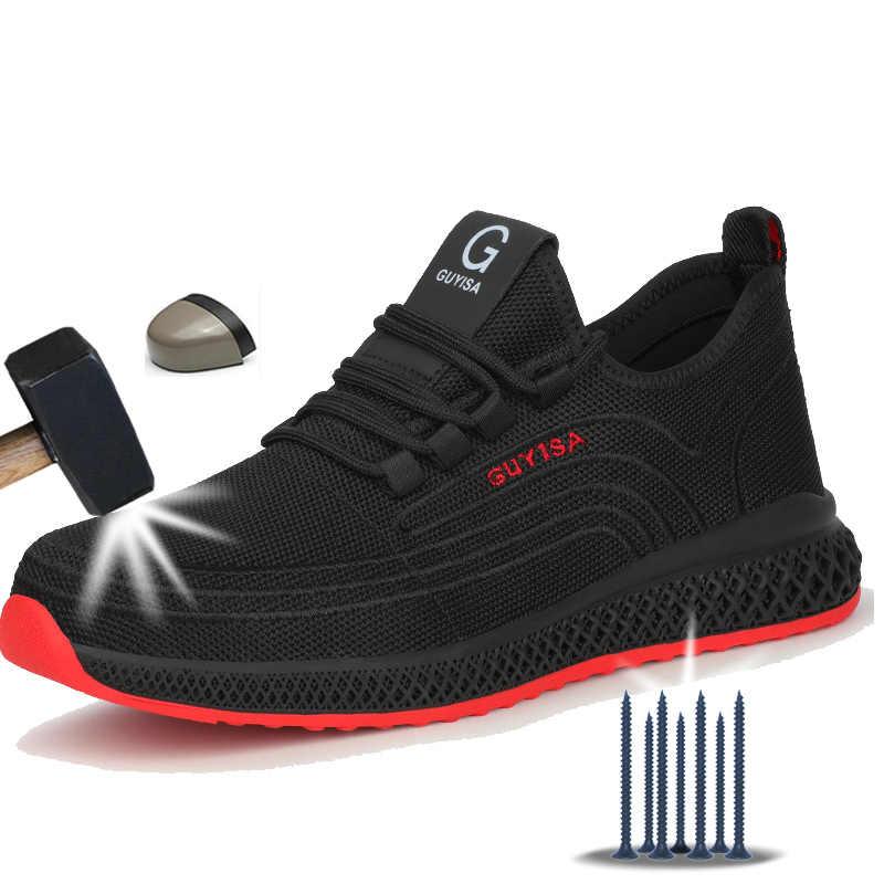 Manlegu hava Mesh çelik ayak iş ayakkabısı nefes iş ayakkabısı adam güvenlik hafif delinme geçirmez güvenlik botları Dropshipping