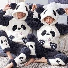Unisex adult couple pajamas men winter velvet sleepwear 2 pieces warm flannel