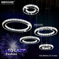 Nordic LED Pendant Lights Circle Stainless Steel K9 Crystal Hanging Lamp Diamond Luminaires for Home Decoration Fast Shipping