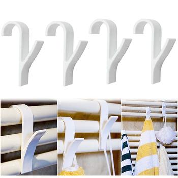 1 4 sztuk biały wieszak na podgrzewany wieszak na ręcznik chłodnicy Rail wanna uchwyt z hakiem wieszak na ubrania Plegable wieszak na szaliki miejsce do suszenia wieszak na ręczniki wieszak na ręczniki tanie i dobre opinie CN (pochodzenie) towel rack white 6 3*9 8cm 2 5*3 86inch towel hanging 1 4pcs plastic towel hanging rack