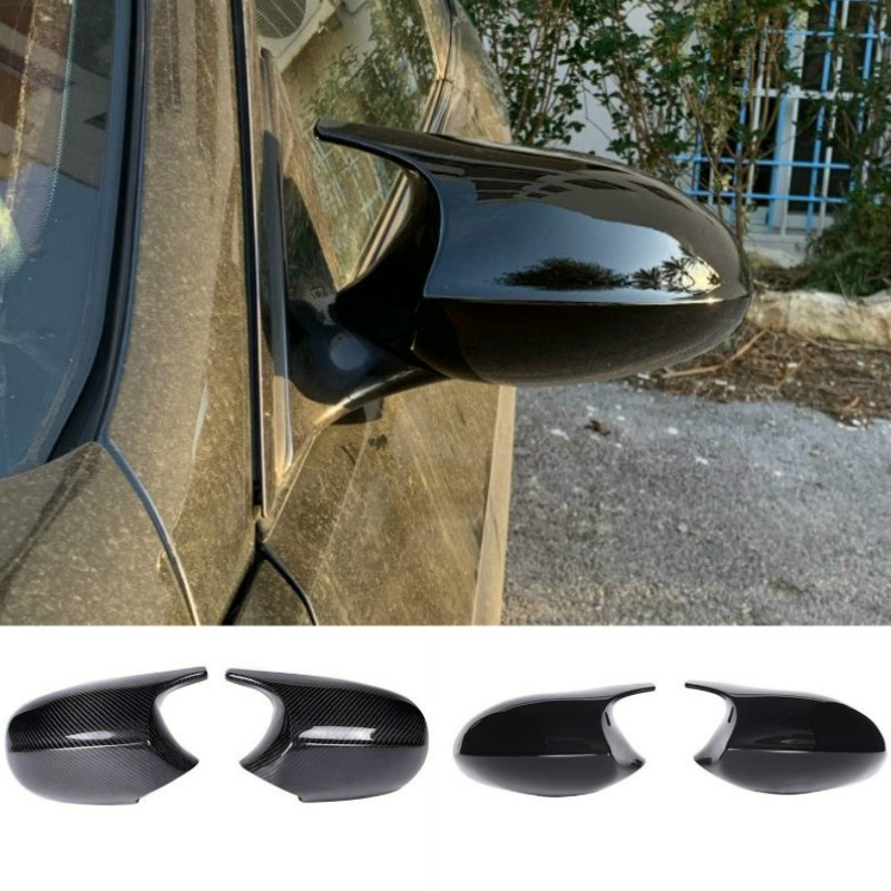 2xMirror Cover E90 Car Side Door Rearview Side Mirror Cover Cap For BMW E90 E91 2005-2007 E92 E93 2006-2009 M3 Style E80 E81 E87 image