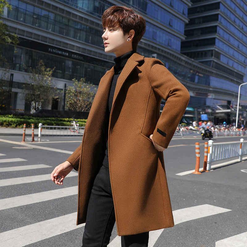 Модное мужское шерстяное пальто ветровка 2020 осенне-зимнее шерстяное пальто в японском стиле Мужская Горячая Распродажа