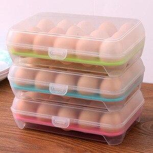 Egg Storage Box Egg Tray containers Kitchen Refrigerator 15 Grids Eggs Plastic Dispenser Airtight Fresh Preservation(China)