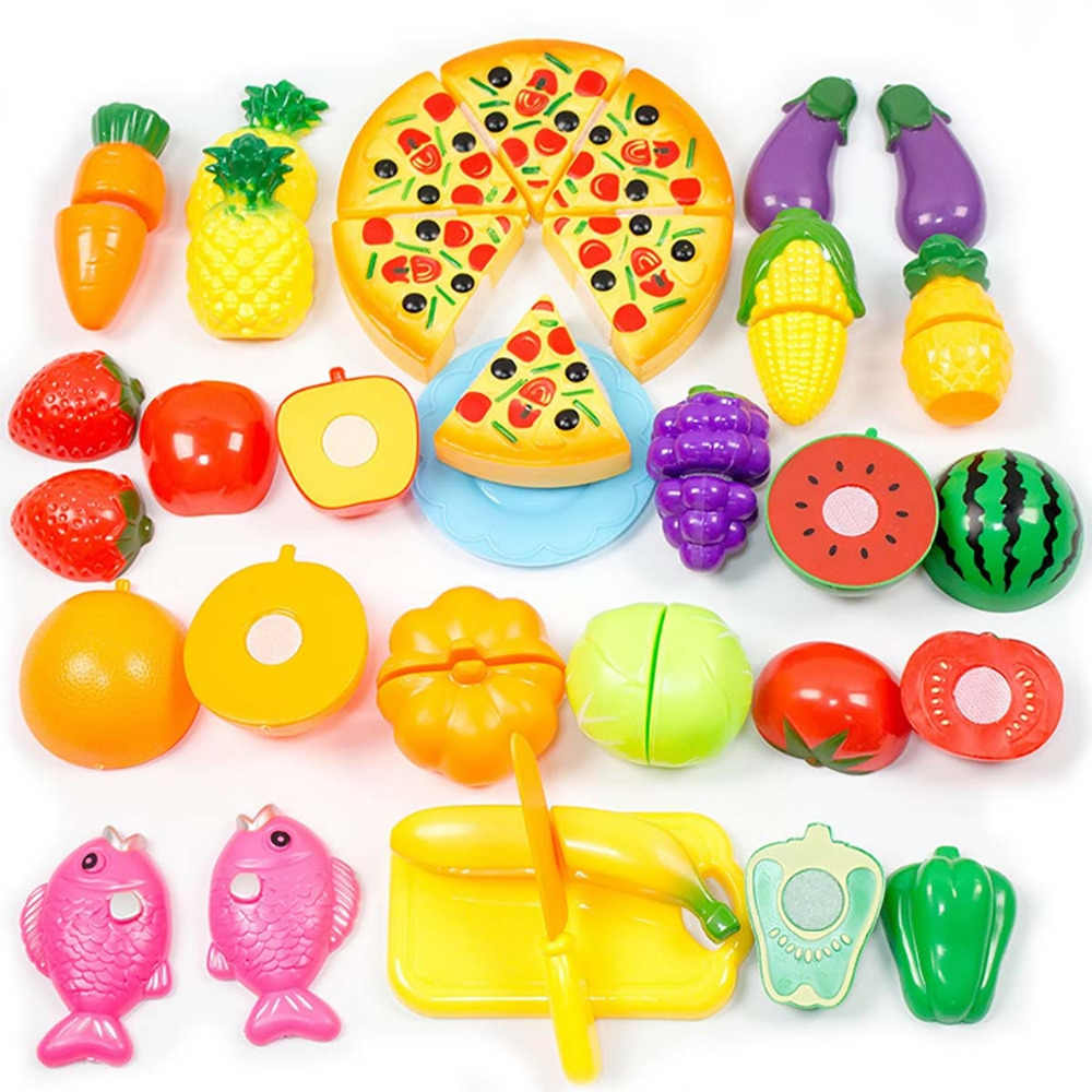 24 Pcs Anak-anak Dapur Kawaii Mainan Plastik Pemotong Buah Sayuran Makanan Pizza Kit Kat Miniatur Berpura-pura Bermain Mainan Pendidikan Awal
