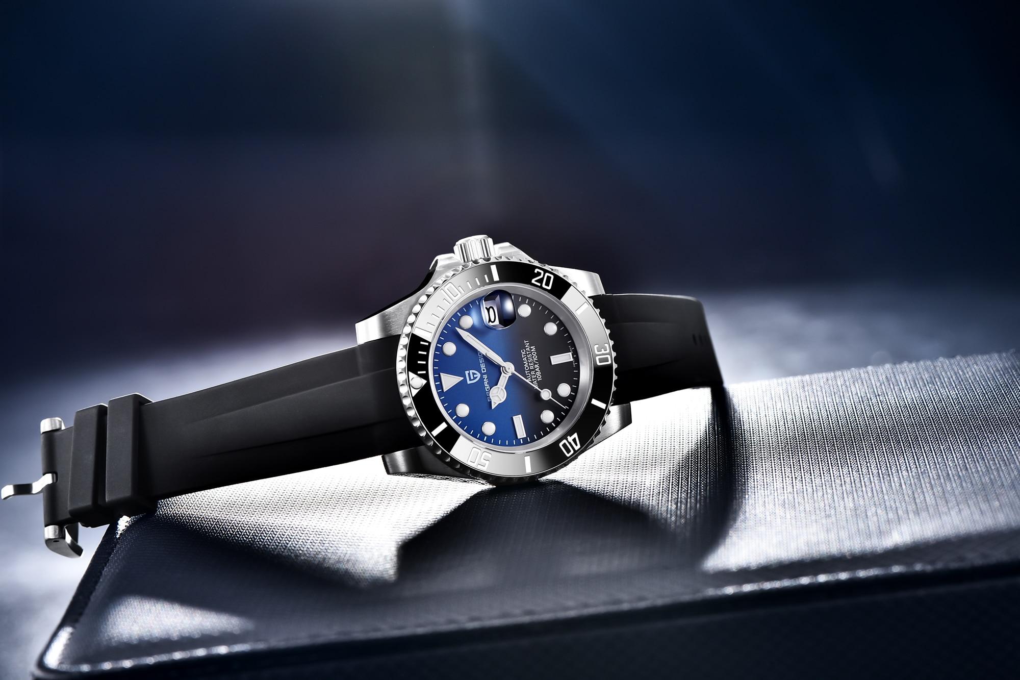 homens relógios mecânicos automáticos de safira luxo