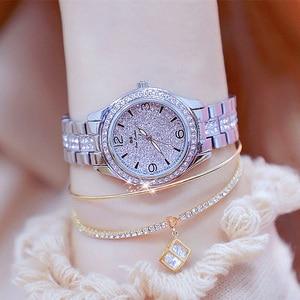 Image 1 - 2020 New Fashion Ladies Wrist Watches Luxury Brand Diamond Women Bracelet Silver Watch Women Dress Quartz Clock Relogio Feminino