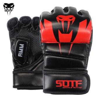 SUOTF Black Fighting MMA Boxing Sports Leather Gloves Tiger Muay Thai fight box mma gloves boxing sanda glove pads