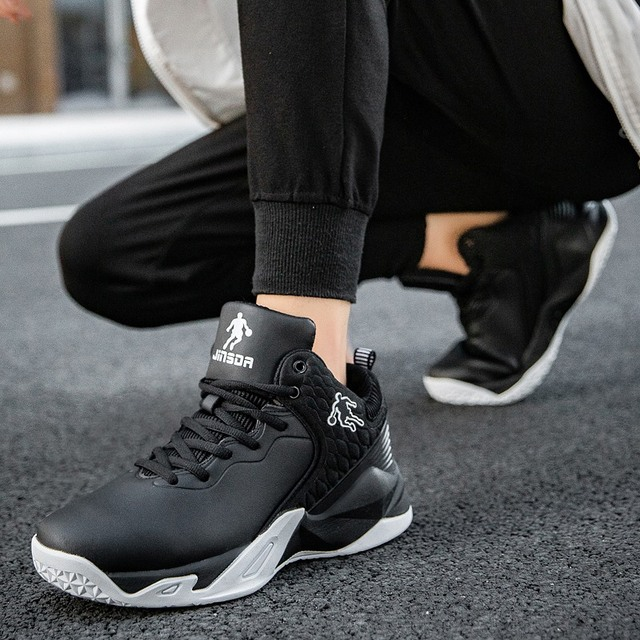 2019 autumn and winter men's basketball shoes junior high school students leather waterproof wear-resistant shock-absorbing boot 5