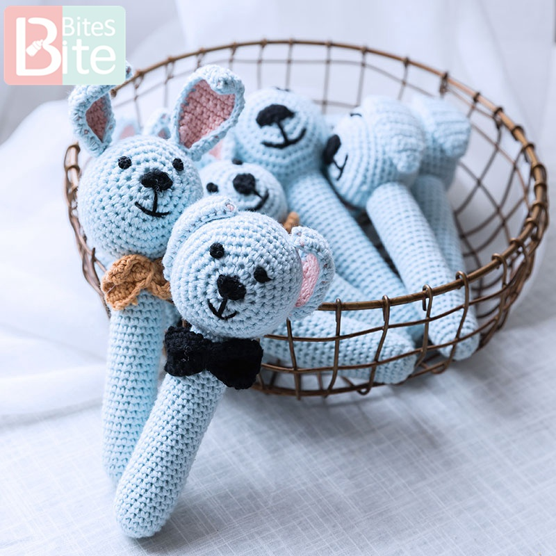 Bite Bites 1PC Baby Rattle Toys Animal Crochet Wooden Rings Rattle DIY Crafts Teething Rattle Amigurumi Toys Children's Products