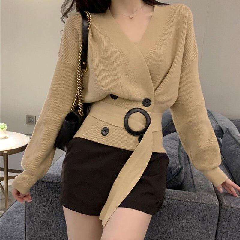 Fashion 2020 Elegant V Neck Double-breasted Sashes Cardigan Women Autumn Knitted Harajuku Sweater Ladies Slim Chic Cardigans