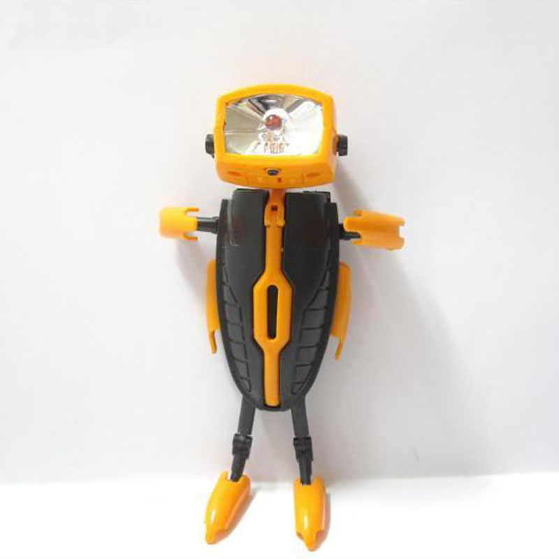 Çok fonksiyonlu Mini şekil değiştiren dans demir adam süper kahraman Robo Led Robot oyuncak açık kamp katlanabilir aracı el feneri ışık