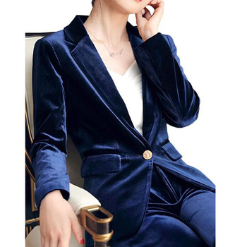 SEBOWEL Women's Fashion Blue Green Velvet Blazers Jackets Suit Spring Autumn Office Lady Work Blazer Coat New High Quality S-4XL