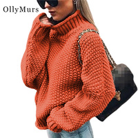 Oversized Loose Turtleneck Women Sweater Pullovers Long Sleeve Fashion Casual Navy Solid Green Orange 2019 Winter Sweater