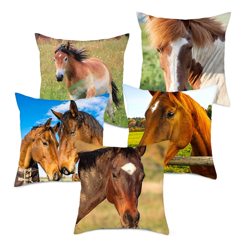 Fuwatacchi Wild Grassland Horse Cushion Cover Wild Animals Throw Pillows Cover For Home Chair Sofa Decorations Pillowcases 2020