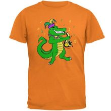 Mardi Gras Alligator Playing Saxaphone Jester Jazz Mens T-Shirt Round Neck Tops TEE Shirt(China)