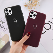 Ottwn For iPhone 11 Pro Max XS Max XR X 8 7 6 6s Plus Love Heart Couples Case Candy Color For iPhone 12 Pro Soft Silicone Cover