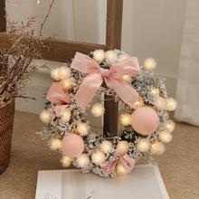 Рождественский венок ручной работы из ротанга, подвесная гирлянда, Рождественская елка, украшение двери, венок, guirnalda navidad, струнный светильник
