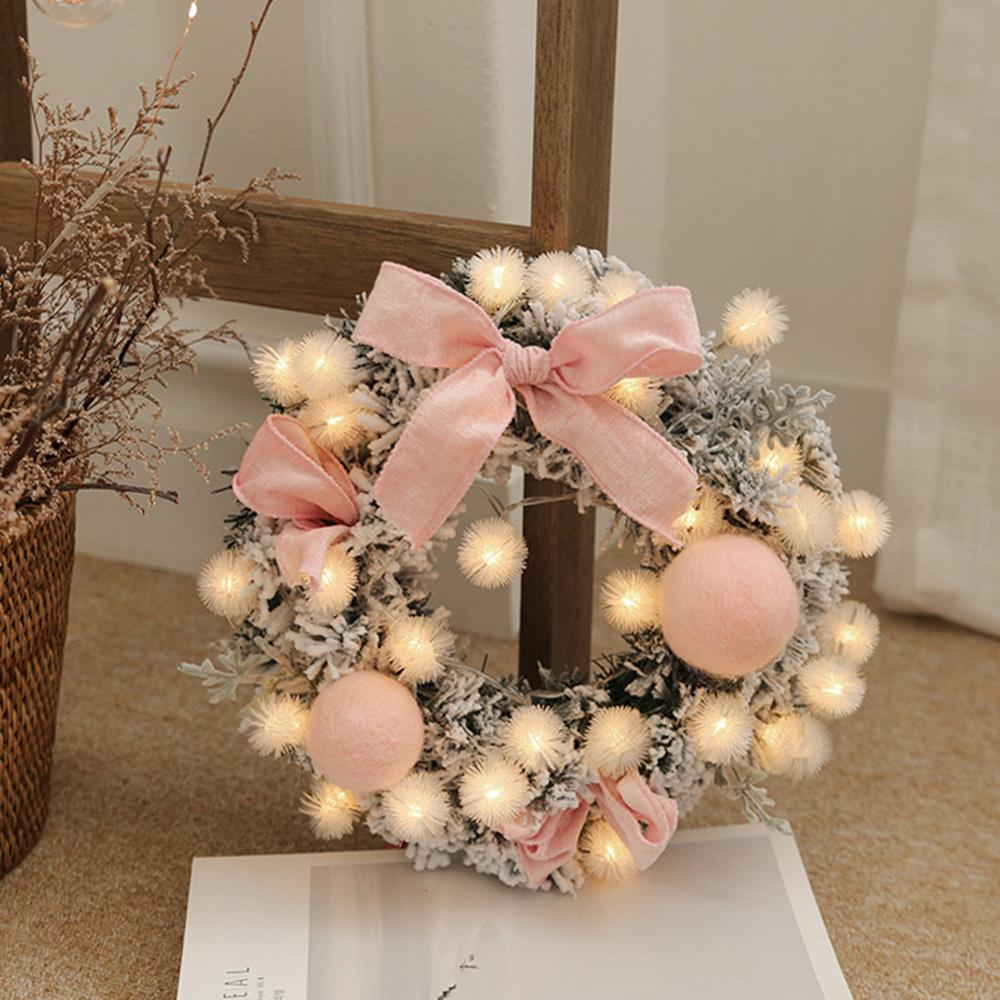 Christmas Wreath Handmade Rattan Pendant Garland Shopping Christmas Tree Door Decoration Wreath Guirnalda Navidad String Light