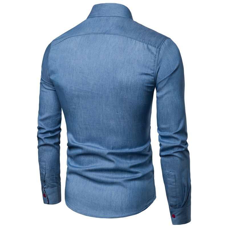 חדש הגעה גברים של חולצות מוצק Slim Fit ארוך שרוולים באיכות גבוהה לשטוף ג 'ינס קאובוי ג' ינס חולצות גברים מקרית חורף סתיו