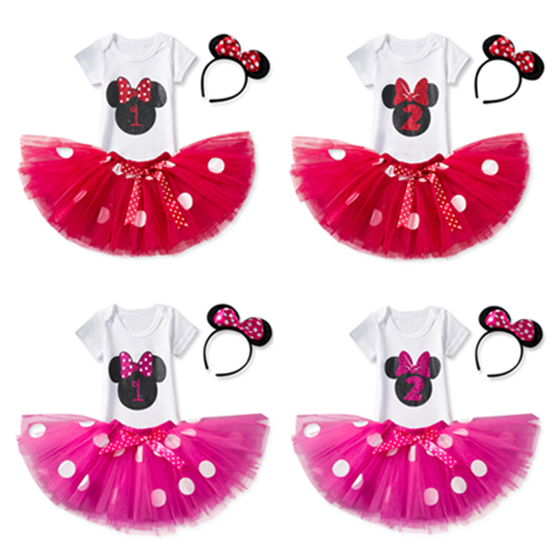 Infant Girls Mini Mouse Costume Short Sleeve Summer Baby Birthday Party Dress Number 1 Pattern Clothes for Baby Girl 2 Year