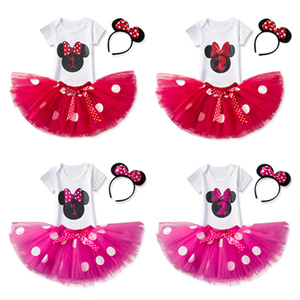 Infant Girls Mouse Costume Short Sleeve Summer Baby Birthday Party Dress Number 1 Pattern Clothes for Baby Girl 2 Year