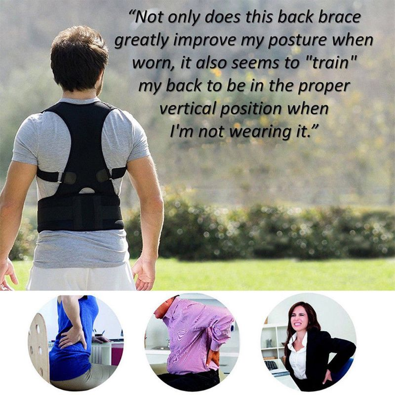 Men Women Adult Magnets Posture Corrector <font><b>Humpback</b></font> Brace Corset Shoulder Back Lumbar Support Belt Pain Relief Adjustable Band image