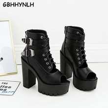 GBHHYNLH High Heels Women black leather ankle boots for women casual Shoes Woman fall Boots Peep Toe Platform LJA814