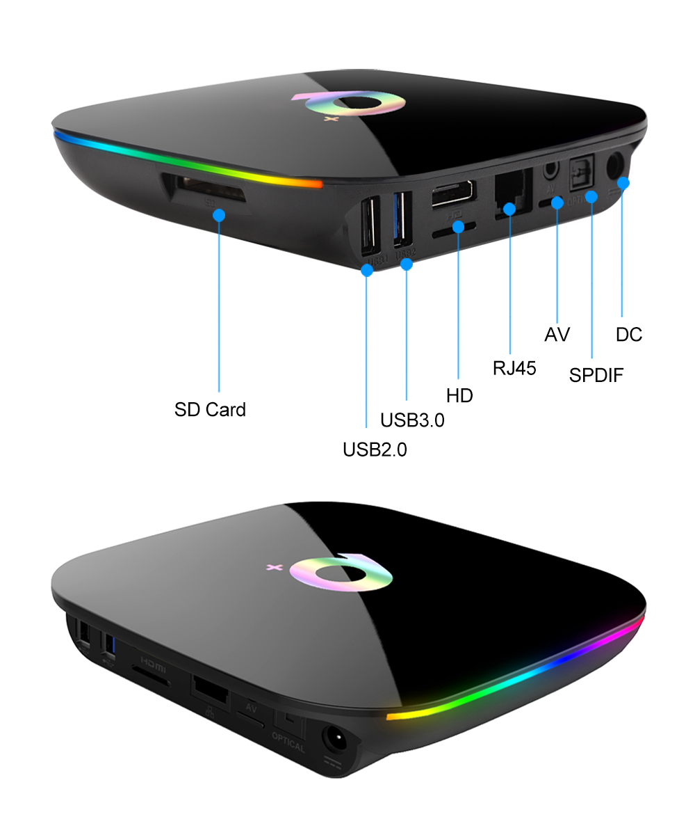 Boîtier TV intelligent Q Plus Android 9.0 boîtier TV 4GB Ram 32GB 64GB Rom 6K H.265 USB3.0 Netflix Allwinner H6 PK T95Q s905x2 décodeur