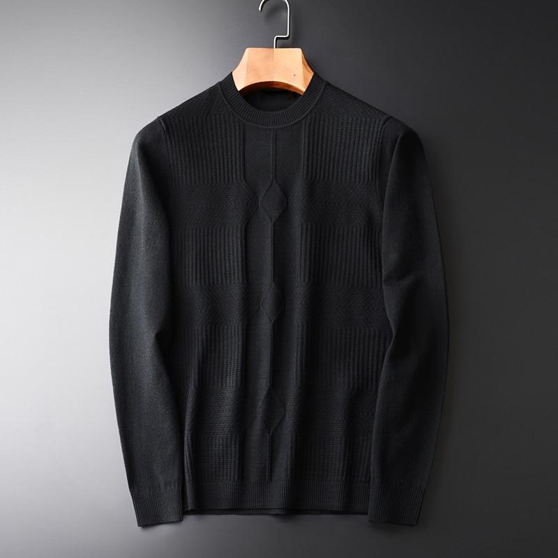 Men Sweater Fashion Dark Grain Jacquard Black Round Collar Sweaters Autumn And Winter Pullover Masculino Mens Sweaters