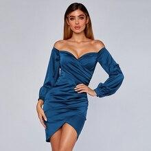 Adyce 2019 Yeni Kış Kapalı Omuz Bodycon Kulübü Elbise Kadınlar Seksi Straplez Uzun Kollu Ünlü Akşam Parti Elbiseler Vestidos