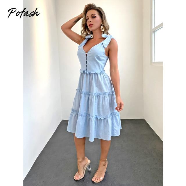 Pofash Blue Solid Midi Dress Women Spaghetti Strap Bow Sleeveless Ruffle Summer Dress V Neck Button Backless Sexy Vestidos 2021 1