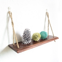 Free punching shelf bracket wall storage decorative hemp rope hanging partition wood rack wall shelves geometric shelf CL090922